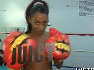 Big ass darksome honey rides a boxer