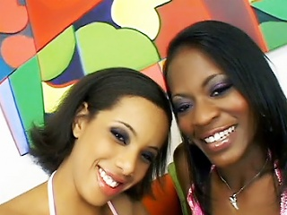 Sultry ebonies Alicia Tyler and Jazmyne Sky were so thrilled to work...