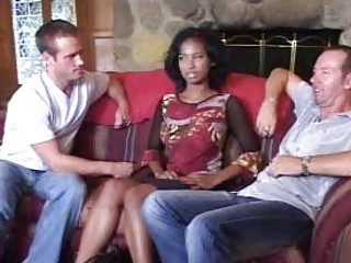 Blameless afro bride in three-some does oral-stimulation stimulation for 2 lascivious males