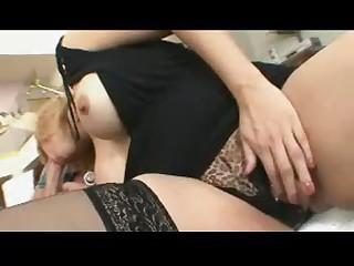 Blonde Milf Sophia Mound Black Stockings SM65