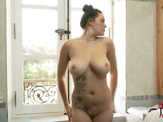 Inked up darksome brown Paige with massive natural pantoons
