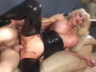 Biggest titty floozy in dark latex screwed