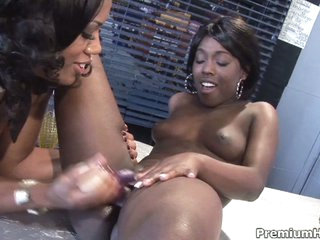Ebony lesbian babes eat and toy fur pie