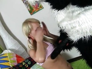 What would u do if your favourite panda teddy bear turned out to be alive and damn horny? Probably u'd be scared at first, like this gorgeous golden-haired teenager. But then this playgirl realized that it offered so many exciting possibilities... In fact, this babe's always wanted to have sex with large toys. And there's no thing bigger than panda's shiny black ding-dong cock! Furthermore, the combination of enjoyment and sex is actually irresistible. See an thrilling sex play that ended up as real impure sex. Oh, and there's a nifty ...