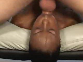 Obscene face fuck and gagging with black angel