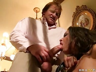 Perverted dark brown hair honey in darksome nylons receives tied and does orall-service